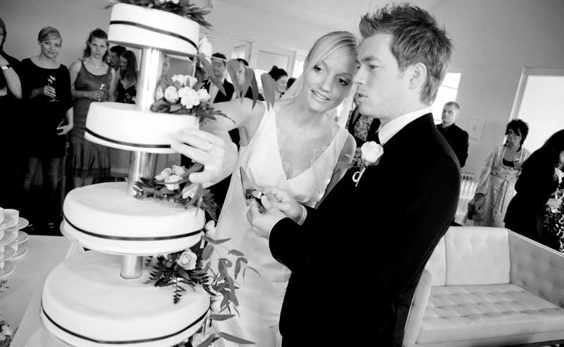 Reception og kageskæring